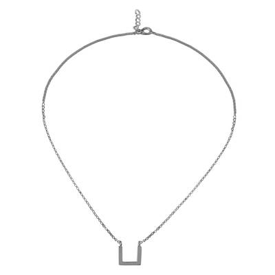 Angular Sterling Silver Pendant Necklace from Thailand