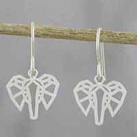 Sterling silver dangle earrings, 'Elephant Illusion' - Hand Crafted Sterling Silver Elephant Dangle Earrings