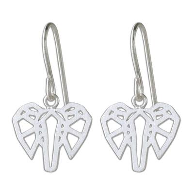 Hand Crafted Sterling Silver Elephant Dangle Earrings