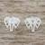 Sterling silver stud earrings, 'Elephant Illusion' - Elephant Stud Earrings Crafted from Brushed Sterling Silver (image 2) thumbail