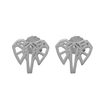 Sterling silver stud earrings, 'Elephant Illusion' - Elephant Stud Earrings Crafted from Brushed Sterling Silver