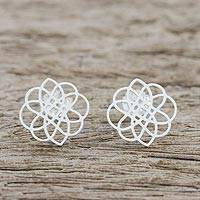 Sterling silver button earrings, 'Stellar Intersections' - Handcrafted Sterling Silver Button Earrings from Thailand