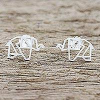Sterling silver button earrings, 'Elephant Origami' - Elephant Button Earrings Hand Crafted in Thailand
