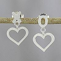 Sterling silver dangle earrings, 'Hugs and Kisses' - Romantic Sterling Silver Hugs and Kisses Earrings