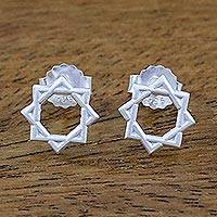 Sterling silver stud earrings, 'Star of Lakshmi' - Star of Lakshmi Sterling Silver Stud Earrings