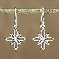 Sterling silver dangle earrings, 'Thai Star' - Stylized Star Shape Earrings in Sterling Silver