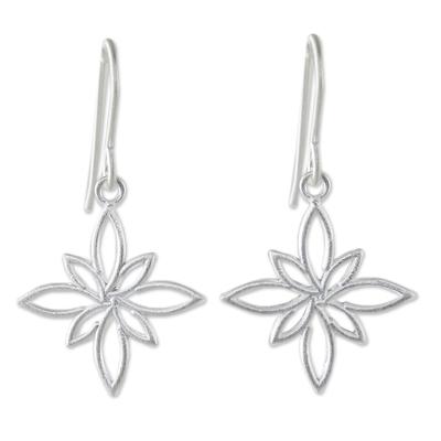 Stylized Star Shape Earrings in Sterling Silver