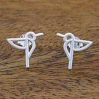 Sterling silver button earrings, 'Hummingbird Aloft' - Hummingbird Sterling Silver Button Earrings