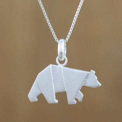 Bear pendant necklace in sterling silver origami bear novica sterling silver pendant necklace origami bear bear pendant necklace in sterling silver aloadofball Images