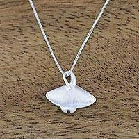 Sterling silver pendant necklace, 'Glimmering Stingray' - Sterling Silver Stingray Pendant Necklace from Thailand