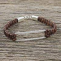 Sterling silver pendant bracelet, 'Open Window in Brown' - Sterling Silver Pendant Bracelet with Leather Macrame