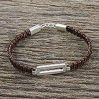 Sterling silver pendant bracelet, 'Good Form in Brown' - Unisex Bracelet Crafted from Brown Leather and Silver