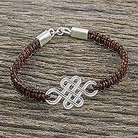 Sterling silver and leather pendant bracelet, 'Fortune's Knot in Brown' - Brown Leather and Sterling Silver Knot Pendant Bracelet