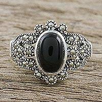 Onyx and marcasite cocktail ring, 'Belle Epoque' - Marcasite and Onyx Cocktail Ring from Thailand
