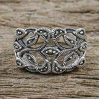 Marcasite cocktail ring, 'Victorian Lace' - Marcasite Band Ring in Sterling Silver from Thailand