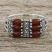 Onyx and marcasite cocktail ring, 'Victorian Passion' - Elegant Marcasite and Enhanced Red-Orange Onyx Ring