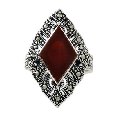Onyx and marcasite cocktail ring, 'Victorian Flame' - Artisan Crafted Marcasite and Enhanced Onyx Ring