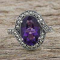 Amethyst and marcasite cocktail ring, 'Victorian Keepsake' - Vintage-look Cocktail Ring with Amethyst and Marcasite