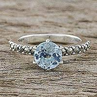 Blue topaz and marcasite solitaire ring, 'Victorian Soliloquy'