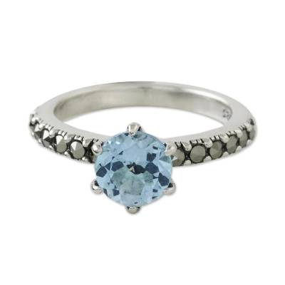 Blue topaz and marcasite solitaire ring, 'Victorian Soliloquy' - Solitaire Ring with Three-Carat Blue Topaz and Marcasite
