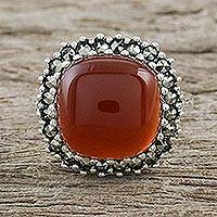 Onyx and marcasite cocktail ring, 'Fiery Spirit' - Orange-Red Onyx and Marcasite Cocktail Ring