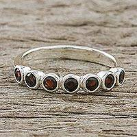 Garnet anniversary ring, 'Garland of Joy'