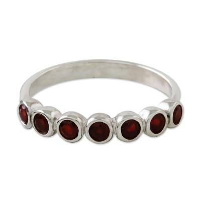 Garnet anniversary ring, 'Garland of Joy' - Handcrafted Thai Sterling Silver and Garnet Anniversary Ring