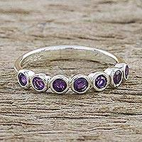 Amethyst anniversary ring, 'Garland of Joy' - Modern Sterling Silver and Amethyst Anniversary Ring