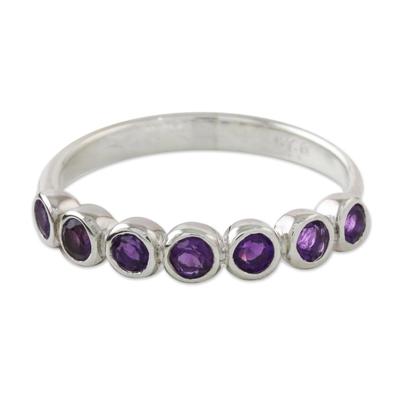 Amethyst anniversary ring, 'Garland of Joy' - Modern Sterling Silver and Amethyst Anniversary Ring