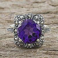 Amethyst and marcasite cocktail ring, 'Victorian Lavender' - Artisan Crafted 3.5 Carat Amethyst and Marcasite Ring