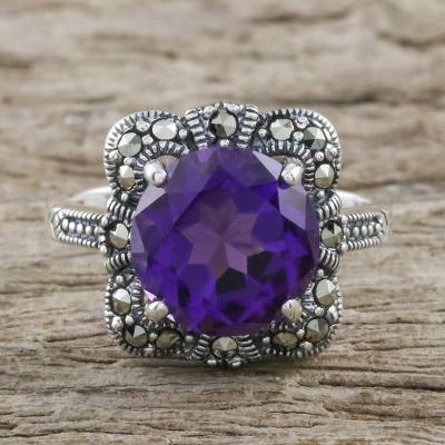 Artisan Crafted 3.5 Carat Amethyst and Marcasite Ring