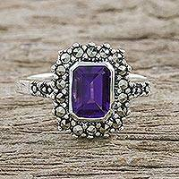 Amethyst and marcasite cocktail ring, 'Joyous Solitude' - Thai Sterling Silver Amethyst Ring with a Marcasite Halo