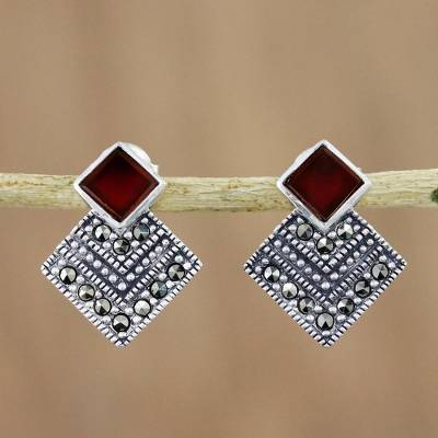 Onyx and marcasite drop earrings, 'Deco Delight' - Deco Look Red-Orange Onyx and Marcasite Drop Earrings