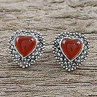 Onyx and marcasite button earrings, 'Victorian Heart'