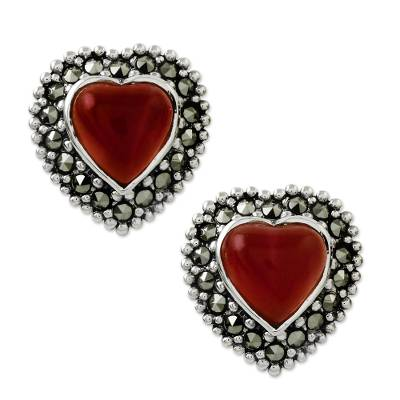 Onyx and marcasite button earrings, 'Victorian Heart' - Heart Shaped Enhanced Onyx and Marcasite Button Earrings