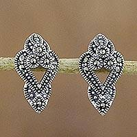Marcasite drop earrings, 'Victorian Dazzle' - Sterling Silver and Marcasite Drop Style Earrings