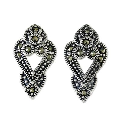 Marcasite drop earrings, 'Victorian Dazzle' - Sterling Silver and Marcasite Drop Style Earrings