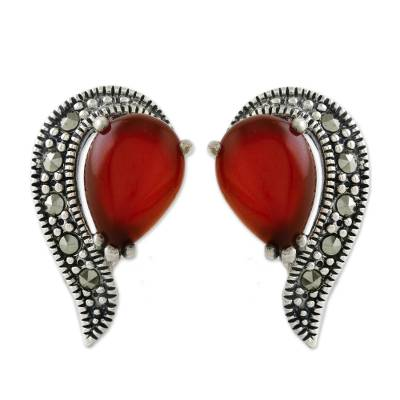 Onyx and marcasite button earrings, 'Victorian Lady' - Button Earrings with Marcasite and Orange-Red Onyx