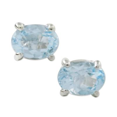 Blue topaz stud earrings, 'Everlasting Blue' - Classic Blue Topaz Stud Earrings from Thailand