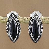 Onyx and marcasite drop earrings, 'Victorian Glamour' - Onyx and Marcasite Drop Earrings in Sterling Silver