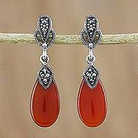 Onyx and marcasite dangle earrings, 'Victorian Fire' - Marcasite and Enhanced Onyx Dangle Earrings