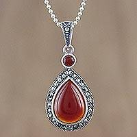 Onyx and marcasite pendant necklace, 'Victorian Inferno' - Enhanced Onyx and Sterling Silver Necklace with Marcasite