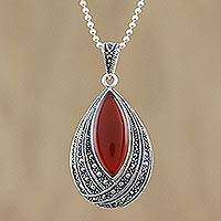 Onyx and marcasite pendant necklace, 'Scarlet Dance'
