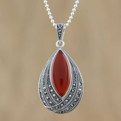 Onyx and marcasite pendant necklace, 'Scarlet Dance' - Red Onyx Pendant Necklace from Thailand