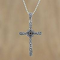 Onyx and marcasite pendant necklace, 'Victorian Cross'