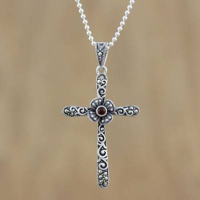 Cross pendant necklace with marcasite and onyx victorian cross onyx and marcasite pendant necklace victorian cross cross pendant necklace with marcasite aloadofball Images