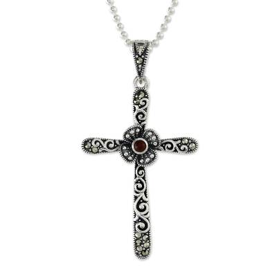 Onyx and marcasite pendant necklace, 'Victorian Cross' - Cross Pendant Necklace with Marcasite and Onyx