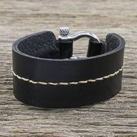 Leather wristband bracelet, 'Determined Spirit' - Thai Handmade Tan and Black Leather Wristband Bracelet