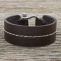 Leather wristband bracelet, 'Rustic Femme' - Women's Stylish Brown Leather Bracelet with Shackle Clasp