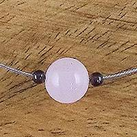 Rose quartz and garnet pendant necklace, 'Touch of Rose' - Rose Quartz and Garnet Pendant Necklace from Thailand